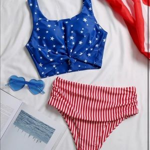 Star & Striped High Waisted Bikini Swimsuit
